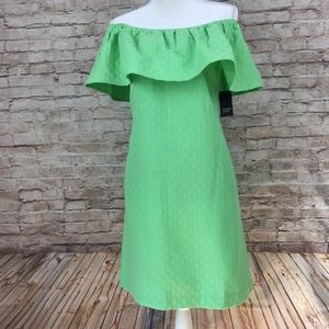 Crown & Ivy green off shoulder dress Small
